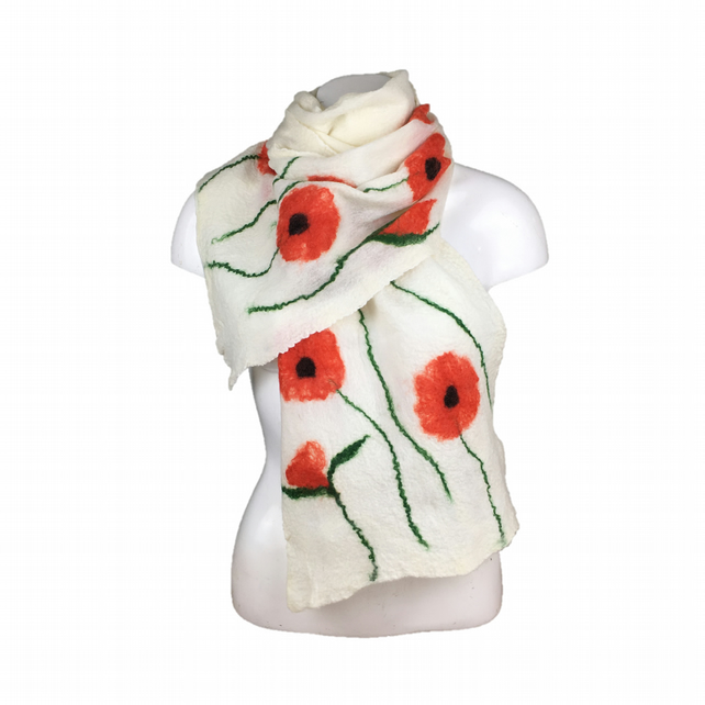 Nuno felted, merino wool on silk, long white poppy scarf