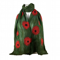 Green merino wool and silk nuno felted scarf with large poppies. long scarf