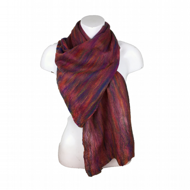 Nuno felt scarf, rainbow merino wool on pink silk chiffon