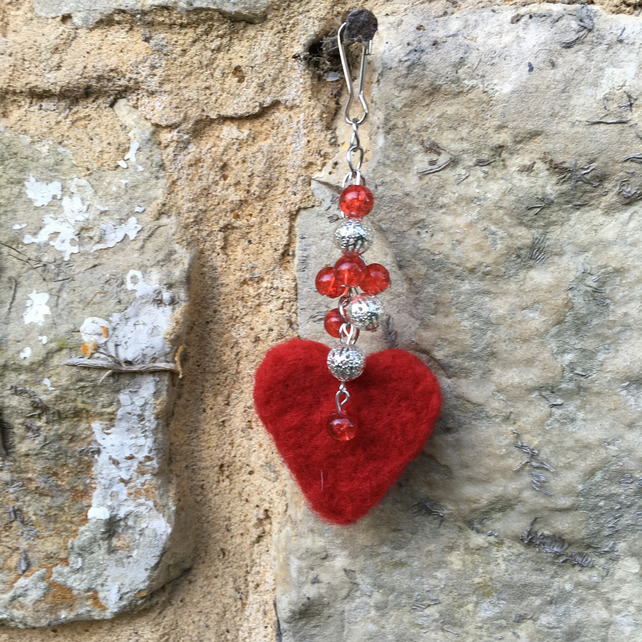 Needle felted heart bag charm, keyring, hanging decoration, beaded bag charm