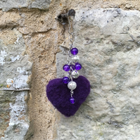 Bag charm, key fob, needle felted heart with beads, purple SALE
