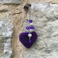 Bag charm, key fob, needle felted heart with beads, purple