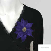 Felted flower brooch, corsage, lapel pin, decorative accessory in purple