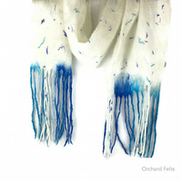 Felted scarf, white merino wool scarf with blue tassels