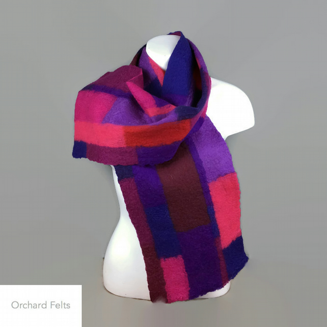 Felted patchwork scarf in shades of red, blue, pink and purple