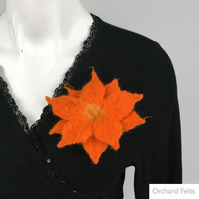 Flower brooch, corsage or lapel pin, wet felted in orange merino wool