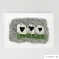 Needle felted sheep picture,  felted on canvas