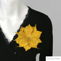 Felt flower brooch, merino wool, flower corsage or lapel pin in yellow
