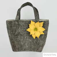 Wet felted handbag, fashion bag, grey wool bag with floral embellishment