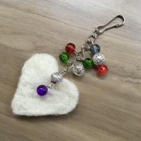 Needle felted heart bag charm or key fob, white heart with multicoloured beads