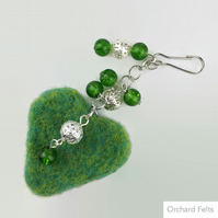 Bag charm or accessory, green needle felted heart with beaded detail, decoration