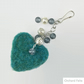 Heart bag charm, needle felted heart with beading, in turquoise