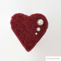Love Heart, needle felted heart keepsake, red with pearl embellishment
