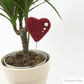 Decorative plant stake, needle felted heart, red with pearl embellishment