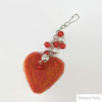 Orange needle felted heart bag charm with beading