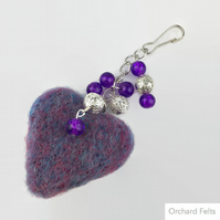 Needle felted heart and bead bag charm in lilac and silver SALE