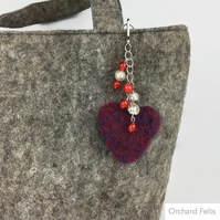 Blue and silver beaded needle felted heart bag charm, valentines gift