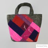 Felted patchwork bag, grey jacob wool with patchwork panel in pinks and purples