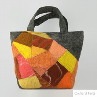 Wet felted handbag, fashion bag, grey wool bag with orange patchwork panel