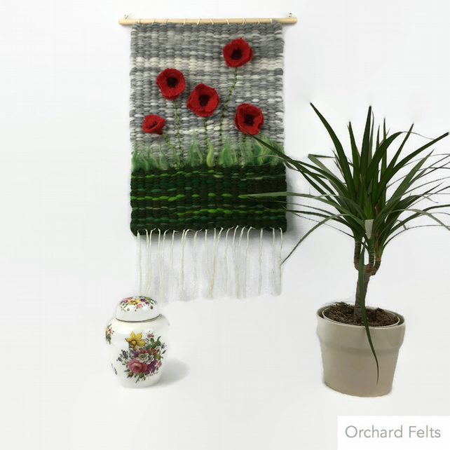Wall hanging, hand woven with felted poppies in 3D - SALE ITEM