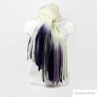 Merino wool wet felted long, lightweight scarf in white with purple tassels