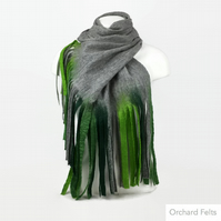 Wet felted lightweight, long merino wool grey scarf with green tassels