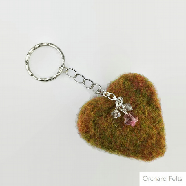 Needle felted heart keyring embellished with Swarovski elements