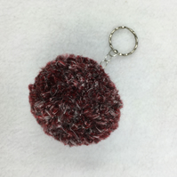 Dark red wool and white silk blend pom pom keyring, extra fluffy