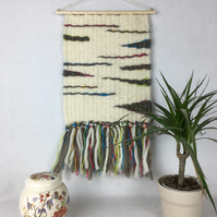 Wall hanging, peg woven in natural shades of wool with  silk strands - SALE ITEM