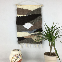 Woven wool and silk wall hanging in natural colours - SALE ITEM