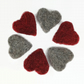 Six needle felted hearts, red and grey, photography props, wedding favour