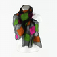 Black silk chiffon scarf nuno felted with bright neon squares