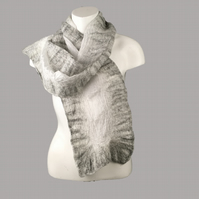 White silk ponge scarf with nuno felted border in shades of grey merino wool
