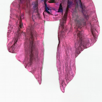Hand dyed silk scarf with nuno felted border in shades of pink