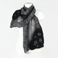 Silk chiffon nuno felted fashion scarf in black and grey