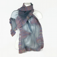 Grey silk chiffon fashion scarf nuno felted with a pastel blend of merino wool