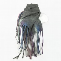 Grey merino wool felted long fashion scarf with pastel coloured tassels