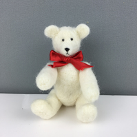 Collectable needle felted teddy bear - white