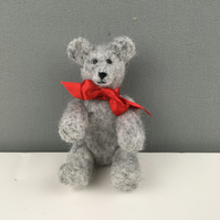 Collectable needle felted grey teddy bear