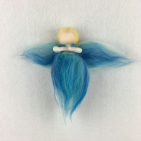 Fairy or angel in light blue merino wool fibres SALE