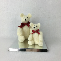 Collectable needle felted white teddy bears - parent and child
