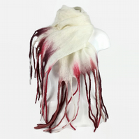 Long white merino wool felted scarf with red coloured long tassels
