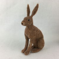 Needle felted brown hare, collectable animal sculpture, ornament or decoration