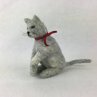 Needle felted grey cat, collectable animal sculpture, ornament or decoration