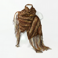 Nuno felted scarf, merino wool on silk with textured fancy embellishment, beige