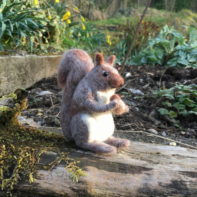 Needle felted model, squirrel, woodland animal sculpture