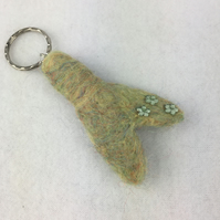 Needle felted mermaid tail keyring, bag charm, zipper pull, key fob