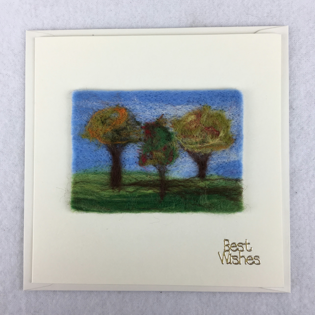 Autumn trees needle felted ACEO picture card, best wishes, removable ACEO