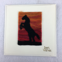 Needle felted  card, best wishes, removable ACEO, rearing horse in sunset