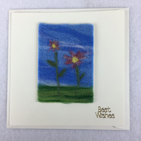 Needle felted flower card, best wishes, removable ACEO